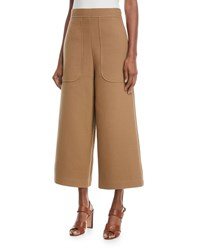 See By Chloe Cropped Cotton Wide Leg Pants Brown