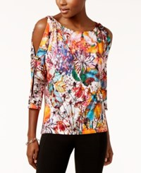Cable And Gauge Printed Grommet Trim Top Orange Smudge Floral Print