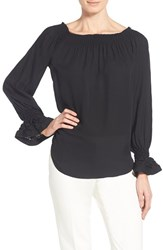 Women's Kobi Halperin 'London' Silk Peasant Blouse Black