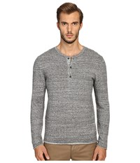 Billy Reid Long Sleeve Sweater Henley Dark Grey Men's Sweater Gray
