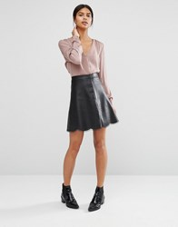 Vila Scallop Trim Skirt Black