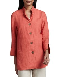 Neiman Marcus Linen Wooden Button Jacket Women's Aqua