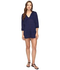 Nautica Soho Stripe Hooded Tunic Cover Up Navy Women's Swimwear
