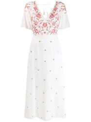 Antik Batik Embroidered Floral Panel Dress White