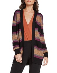 Bcbgeneration Striped Open Front Cardigan Black