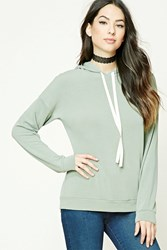 Forever 21 French Terry Knit Hoodie Sage