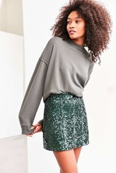 Cooperative Cassie Sequin Mini Skirt Green