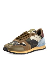 Valentino Men's Rockrunner Laminate Camo Leather Trainer Sneaker Gold Green Gold Green