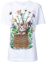 Wall Cat And Flower Print T Shirt White