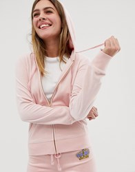 Juicy Couture Black Label Velour Zip Hoodie With Diamante Crest Co Ord Silver Pink