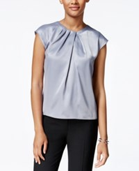 Kasper Petite Pleat Neck Top Silverberry