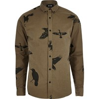Only And Sons River Island Mens Brown Bird Print Casual Shirt