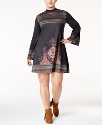 American Rag Trendy Plus Size Mock Neck Peasant Dress Only At Macy's Classic Black Combo