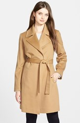 Petite Women's Fleurette Notch Collar Lightweight Cashmere Wrap Coat Camel