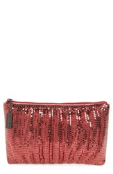 Whiting And Davis Shirred Mesh Pouch Clutch Red