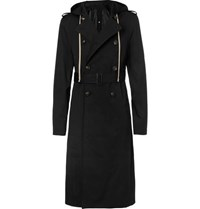 Rick Owens Double Breasted Stretch Cotton Gabardine Hooded Trench Coat Black