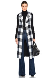 Tome Plaid Sleeveless Trenchcoat In Black White Checkered And Plaid