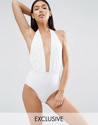 South Beach Lace Plunge Swimsuit White