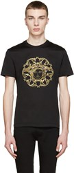 Versace Black And Gold Embroidered Medusa T Shirt