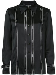 Chanel Vintage Logo Ribbon Tape Fitted Shirt Black