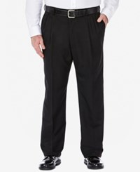 Haggar Cool 18 Microfiber Big And Tall Classic Fit Pleated Dress Pants Black