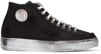 Msgm Black Worn Out Retro Mid Top Sneakers