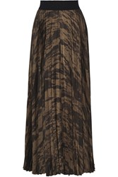 Enza Costa Pleated Metallic Printed Satin Maxi Skirt Brown