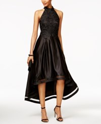 Betsy And Adam Lace Racerback High Low Gown Black