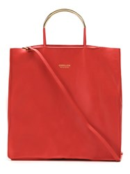 Osklen Leather Tote Bag Calf Leather Red