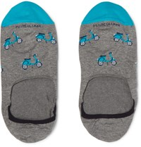 Marcoliani Scooter Patterned Cotton Blend No Show Socks Blue