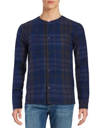 Strand Ramsey Plaid Snap Button Woven Dark Navy