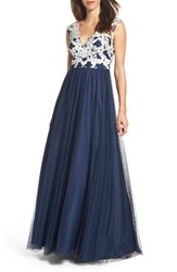 Aidan Mattox Women's Embroidered Bodice Ballgown