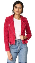 Blank Suede Moto Jacket Red Moon