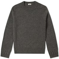 Saint Laurent Camel Hair Crewneck Knit Grey