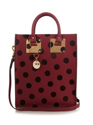 Sophie Hulme Mini Albion Polka Dot Leather Tote Burgundy Multi
