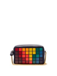 Anya Hindmarch Pixels Leather And Suede Cross Body Bag Navy Multi