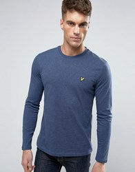 Lyle And Scott Long Sleeve Top Regular Fit Eagle Logo In Navy Marl Navy Marl