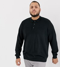 Jacamo Knitted Polo With Texture Panel In Black