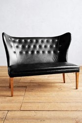 Anthropologie Premium Leather Wingback Bench Armless Midnight