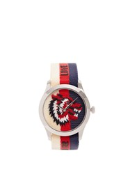 Gucci G Timeless Web Striped Canvas Watch Silver