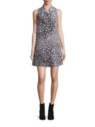 Equipment Mina Leopard Shirt Silk Dress Nature White True Black