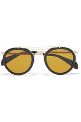 Rag And Bone Nomad Round Frame Textured Leather Gold Tone Sunglasses One Size