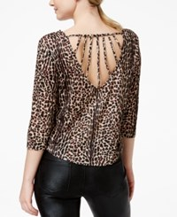 Material Girl Active Juniors' Leopard Print High Low Crop Top Only At Macy's Natural Le