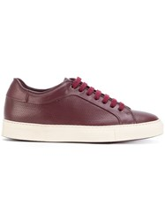 Paul Smith Perforated Lace Up Sneakers Leather Rubber Red