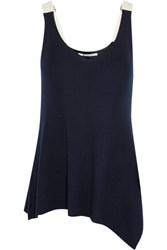 Alexander Wang T By Asymmetric Cotton Trimmed Ribbed Merino Wool Tank Navy