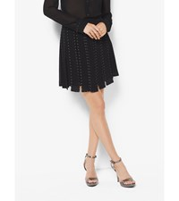 Studded Chiffon Slashed Skirt Black