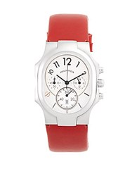 Philip Stein Teslar Classic Rectangle Strap Chronograph Watch Dark Red