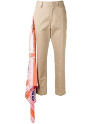 Msgm Scarf Detail Trousers Neutrals
