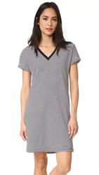Alexander Wang T By V Neck Short Sleeve Dress Black And White