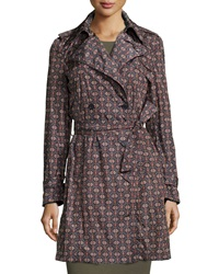 Theory Nelima Printed Nylon Trenchcoat Multi